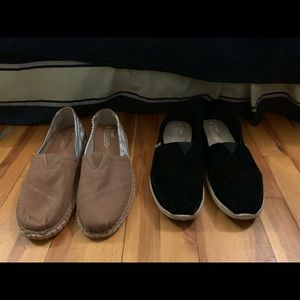 Black Suede & Brown Tribal Print Toms (Sz 9M/11W)